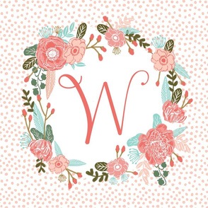 w monogram personalized flowers florals painted flowers girls sweet baby nursery