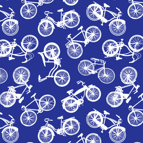 Vintage Bicycles // Dark Blue  fabric by thinlinetextiles on Spoonflower - custom fabric