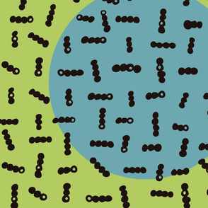 Cuquets amb cercle blau i fons verd