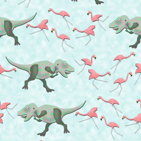 Tyrannosaurus Rex vs Lawn Flamingos fabric by eclectic_house on Spoonflower - custom fabric