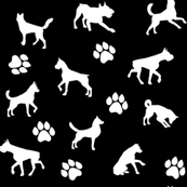 Dogs and Paws - Black and White
