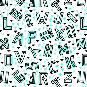 Geometric Alphabet Mint // modern trendy unisex letters school gender neutral tamara arcilla