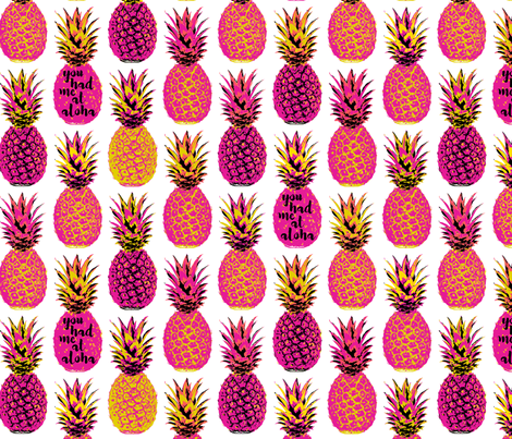 Pink Pineapples -  18 inch repeat fabric by mariafaithgarcia on Spoonflower - custom fabric