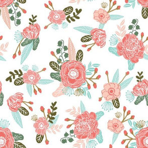flowers florals girls blush coral pink sweet painted flowers