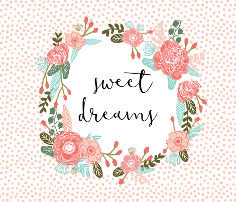 sweet dreams blanket cute girls sweet florals flowers blush nursery baby fabric by charlottewinter on Spoonflower - custom fabric