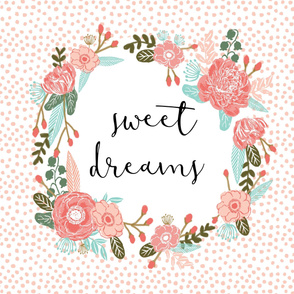 sweet dreams blanket cute girls sweet florals flowers blush nursery baby