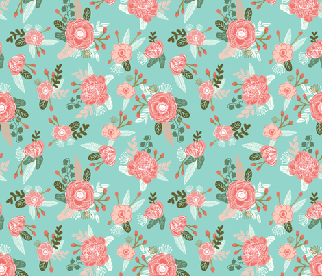 florals flowers girls painted nursery sweet flower girls design baby nursery  fabric by charlottewinter on Spoonflower - custom fabric