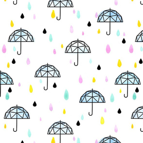Geometric Umbrella Large // rain girl boy baby shower gender reveal neutral trendy cute pastel tamara arcilla