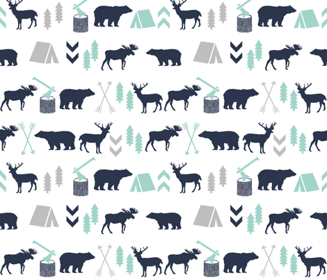 Woodland Camping Boys Nursery Grey Mint Navy Blue Kids