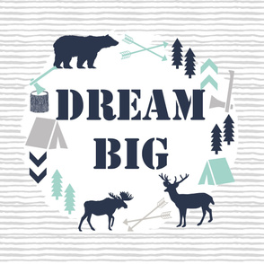 dream big blanket kids boys nursery baby grey mint navy blue boys