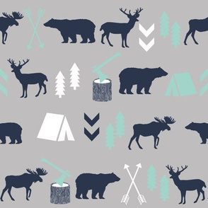 woodland camping boys nursery grey mint navy blue kids outdoors bear tent wood trees forest