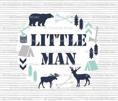 little man blanket kids boys nursery baby grey mint blue