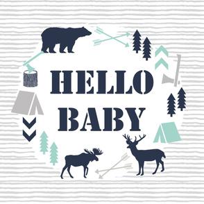 hello baby boy blanket minky boy nursery baby boy
