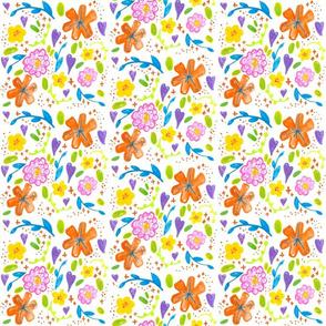 Happy floral Small // spring summer rose tiger lily flowers trendy modern sweet girly pink orange botanical boho tamara arcilla tamara_arcilla