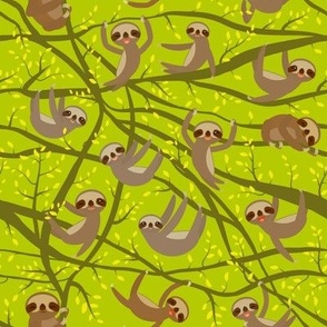 funny kawai sloth set on a branch, yellow leaves,  brown,  green background