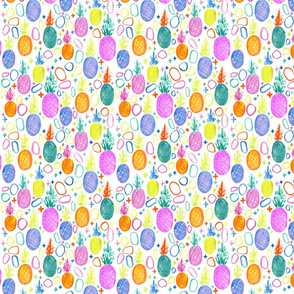 pineapple small // trendy, summer, bright, watercolor, neon, swiss cross, girly, fruit, colorful, modern