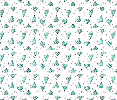 Jewels Small // Mint with black outlines fabric by howjoyful on Spoonflower - custom fabric