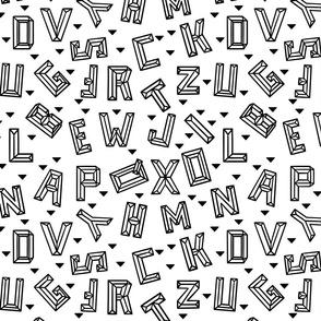 Geometric Alphabet Small // monochrome, letters, school, black and white, unisex, boy, girl, gender neutral, fun, happy, cool, rad, legit
