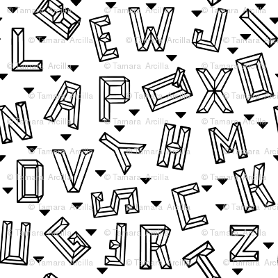 Geometric Alphabet Tiny // monochrome, letters, school, black and white, unisex, boy, girl, gender neutral, fun, happy, cool, rad, legit