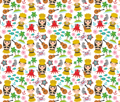 Aloha Hawaii, kawaii Hawaiian boys and girls in traditional costumes, ukulele guitar, palms, sea, fish, octopus, crab, starfish, anchor, flowers on a white background fabric by ekaterinap on Spoonflower - custom fabric