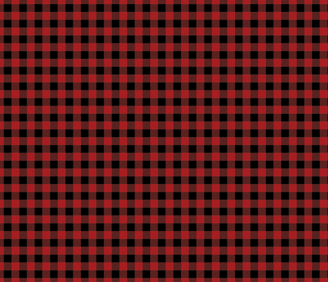 Tiny Buffalo Check Flannel Red Black fabric by sugarfresh on Spoonflower - custom fabric