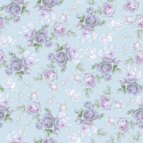 Nilly Floral on aqua fabric by lilyoake on Spoonflower - custom fabric