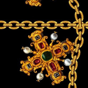 crosses crucifixes gold chains pearls gems jewels ruby rubies Sapphire Onyx Obsidian Versace Hermes Chanel inspired baroque gaudy jewelry jewellery precious stones vintage retro antiques