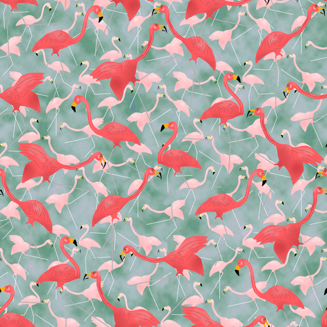Lawn Flamingo Hot Pink 6 fabric by eclectic_house on Spoonflower - custom fabric