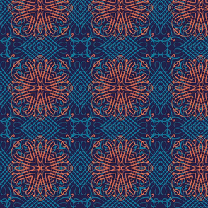 Teal and orange calligraphic medallions
