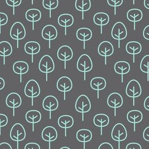 PNW - Trees Mint on Charcoal Gray