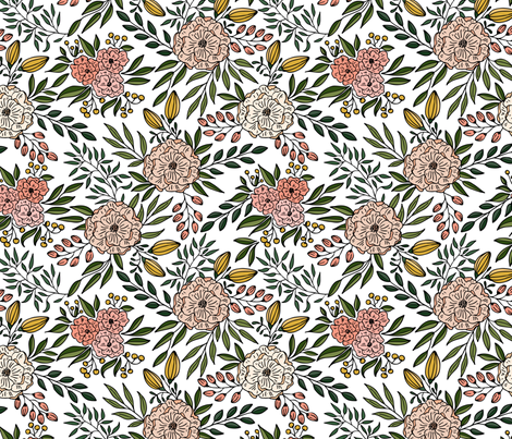 Blooms Outlined // Blush and green with black lines fabric by howjoyful on Spoonflower - custom fabric