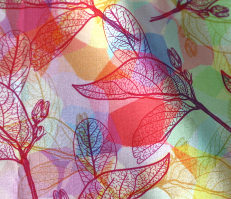 leaves, outline, abstract geometric Scandinavian pattern rainbow color