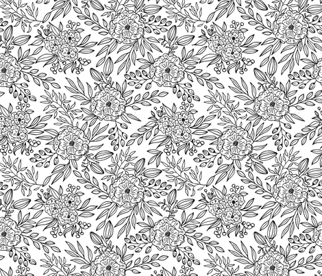 Blooms Outlined // black lines only fabric by howjoyful on Spoonflower - custom fabric