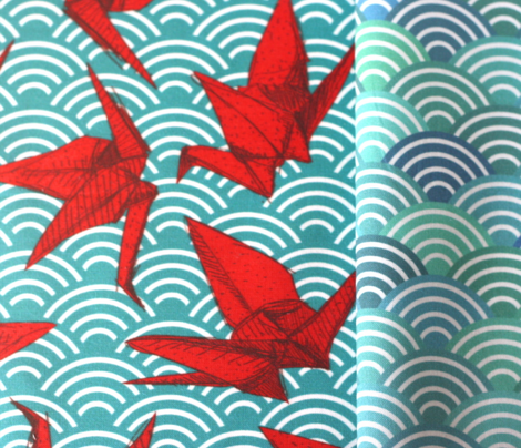 Cranes origami, scales, waves, sea, ocean, abstract geometric japanese asian pettern aqua blue turquoise red