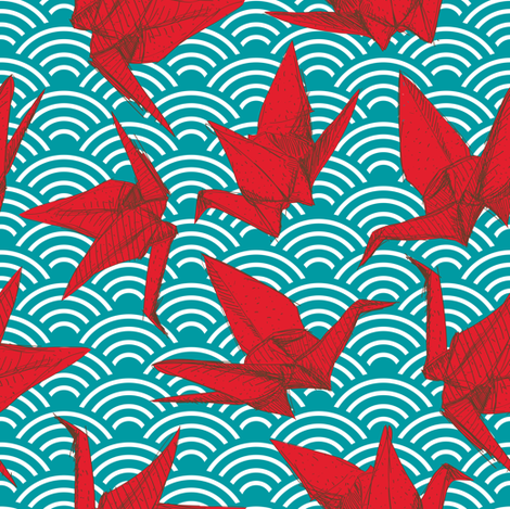 Cranes origami, scales, waves, sea, ocean, abstract geometric japanese asian pettern aqua blue turquoise red fabric by ekaterinap on Spoonflower - custom fabric