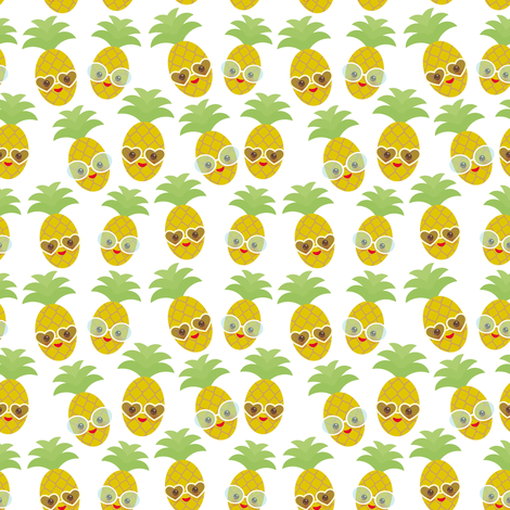kawaii pineapple, face and smile winking eyes with sunglasses on a white background fabric by ekaterinap on Spoonflower - custom fabric
