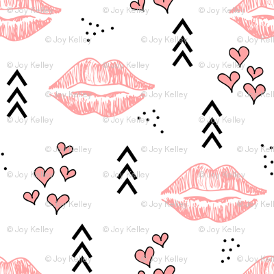 Kisses // Pink and black