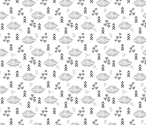 Kisses // Grey and black fabric by howjoyful on Spoonflower - custom fabric