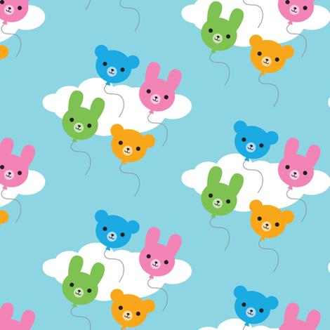 Kawaii Animal Balloons fabric by marcelinesmith on Spoonflower - custom fabric