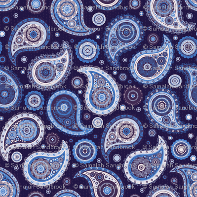 Poppin' Paisley -  Blues & Purples