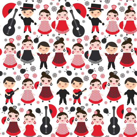 kawaii boys and girls flamenco dancers, smiling and winking eyes. Fan, castanets, guitar, Spanish, Spain, on a white background fabric by ekaterinap on Spoonflower - custom fabric