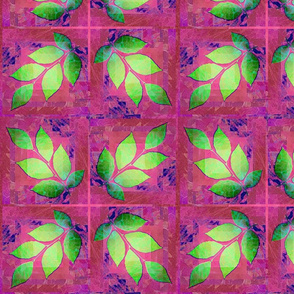 Leaves Green on Fuscia