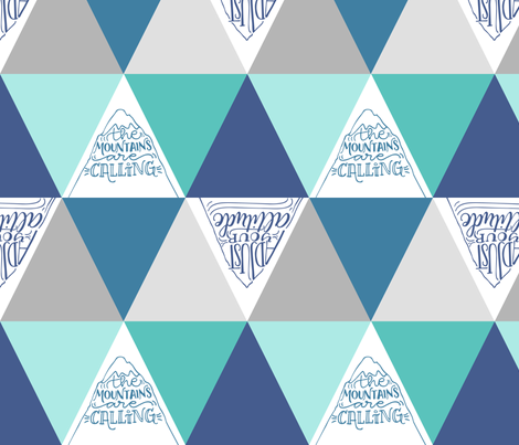 Mountains are calling // Blue shades fabric by howjoyful on Spoonflower - custom fabric
