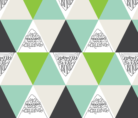 Mountains are calling // Green and grey shades fabric by howjoyful on Spoonflower - custom fabric