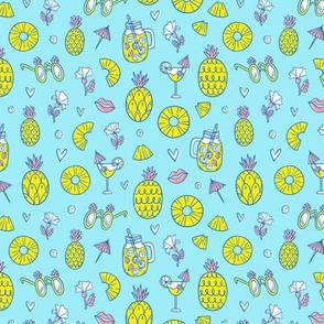 Pineapple mood on blue