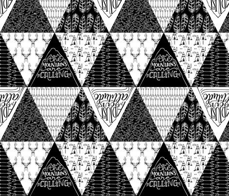 Mountains are calling // Black and white patterns  fabric by howjoyful on Spoonflower - custom fabric