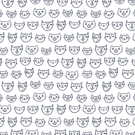 Cat faces fabric by stolenpencil on Spoonflower - custom fabric