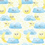 Clouds Moon and Stars_Kawaii