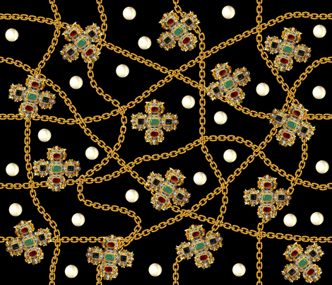 crosses crucifixes gold chains pearls gems jewels ruby rubies emeralds Sapphire Onyx Obsidian Versace Hermes Chanel inspired baroque gaudy jewelry jewellery precious stones vintage retro antiques fabric by raveneve on Spoonflower - custom fabric
