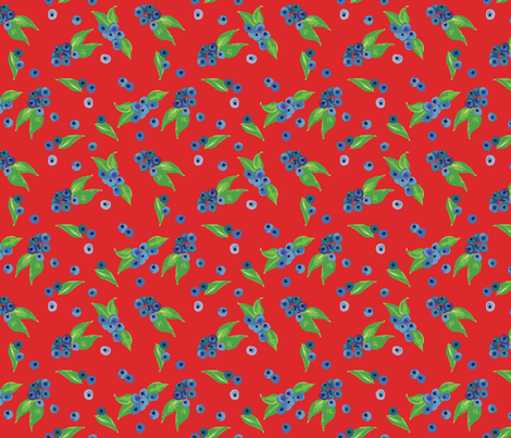 Blueberries Red fabric by katebillingsley on Spoonflower - custom fabric